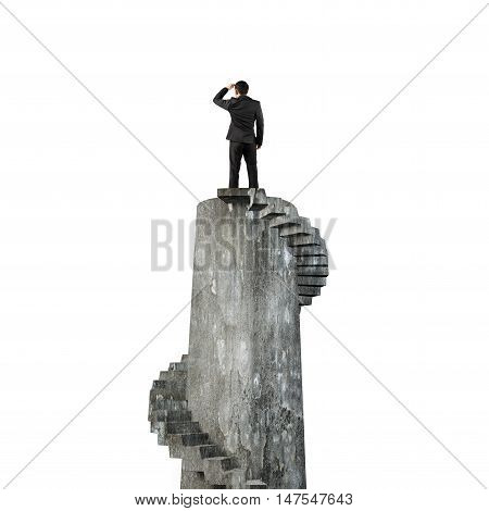 Businessman Gazing On Top Of Spiral Tower