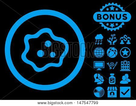 Amoeba icon with bonus elements. Vector illustration style is flat iconic symbols, blue color, black background.