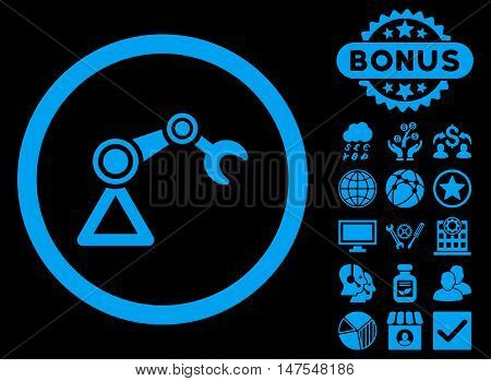 Artificial Manipulator icon with bonus images. Vector illustration style is flat iconic symbols, blue color, black background.