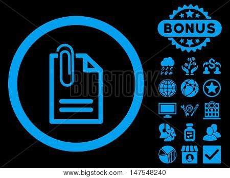 Attach Document icon with bonus pictures. Vector illustration style is flat iconic symbols, blue color, black background.