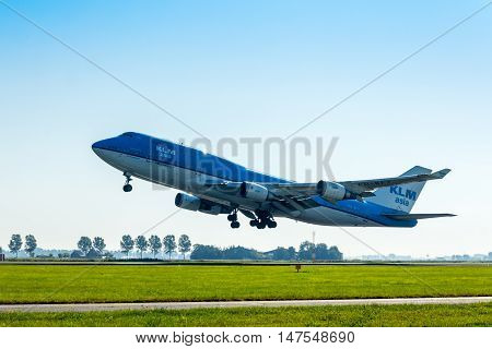 Polderbaan Schiphol Airport the Netherlands - Sep 20 2016: KLM Air France Boeing 747 taking off at Amsterdam Schiphol Airport