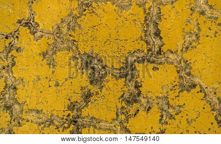 Plaster, plaster texture, plaster background. Old brick wall with plaster, photo texture, seamless background, yellow, plaster pattern