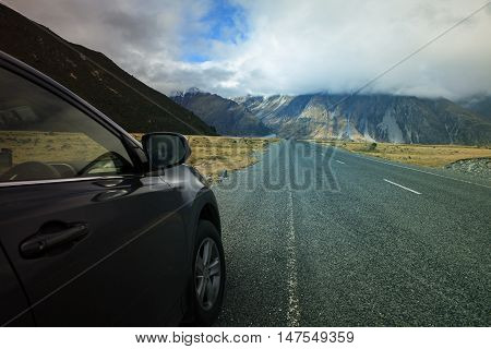 road traveling to aoraki - mt.cook national park important natural destination to visiting in south island new zealand