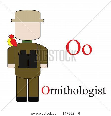 Letter O alphabet of professions. Ornithologist. ABC education cards for kids.