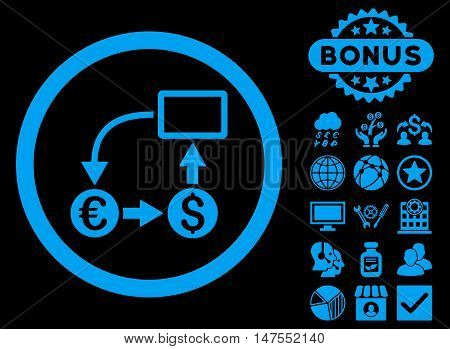 Cashflow Euro Exchange icon with bonus pictogram. Vector illustration style is flat iconic symbols, blue color, black background.