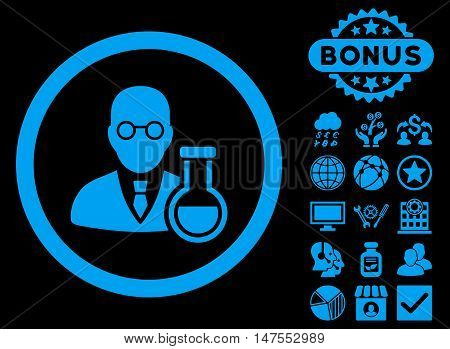 Chemist icon with bonus pictures. Vector illustration style is flat iconic symbols, blue color, black background.