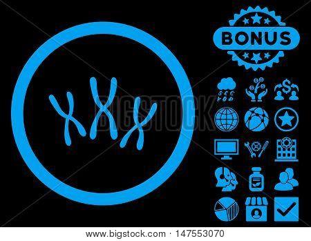 Chromosomes icon with bonus design elements. Vector illustration style is flat iconic symbols, blue color, black background.