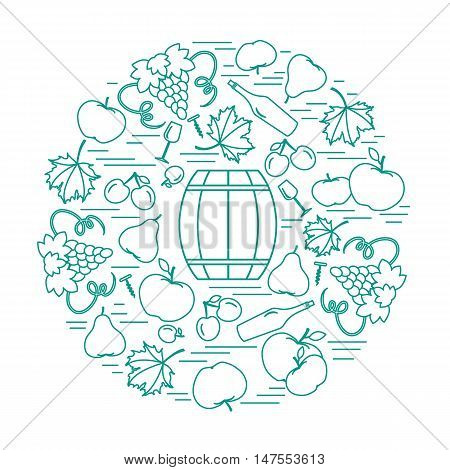 Autumn Symbols In Circle. Barrel, Corkscrew, Wine Glass, Pear, Plum, Grapes And Other Fall Symbol.