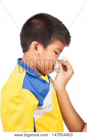Mother cleaning nose of her son on white background