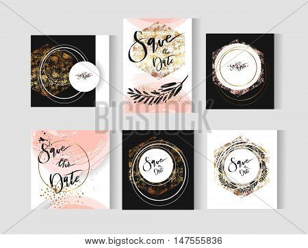 Set of perfect wedding abstract vector templates cards with golden, pastel, black and white colors. Ideal for Save The Date, baby shower, mothers day, valentines day, birthday cards, invitations.