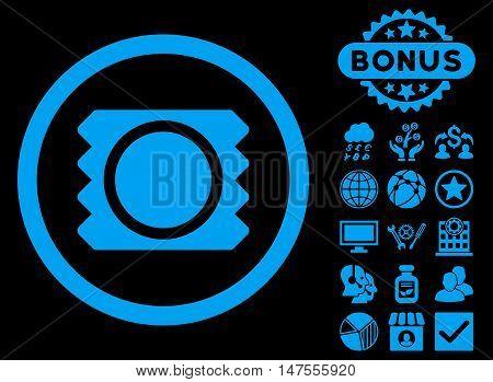Condom icon with bonus design elements. Vector illustration style is flat iconic symbols, blue color, black background.