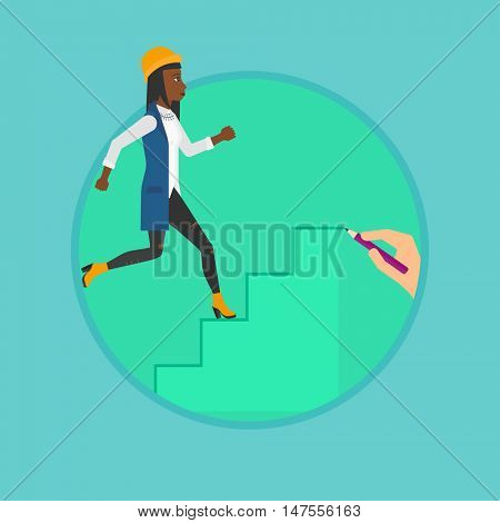 African-american business woman running upstairs drawn by hand with pencil. Woman climbing to success. Concept of business career. Vector flat design illustration in the circle isolated on background.