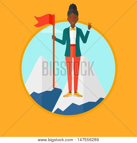 An african-american happy young business woman holding a red flag on the top of the mountain. Cheerful winner and leader concept. Vector flat design illustration in the circle isolated on background.