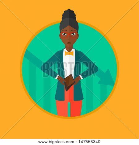 An african-american business woman showing her epmty purse on the background of decreasing chart. Concept of business bankruptcy. Vector flat design illustration in the circle isolated on background.