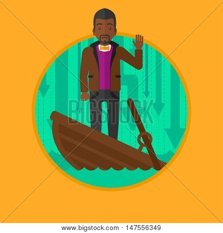 An african-american scared businessman standing in a sinking boat. Businessman asking for help. Concept of business bankruptcy. Vector flat design illustration in the circle isolated on background.