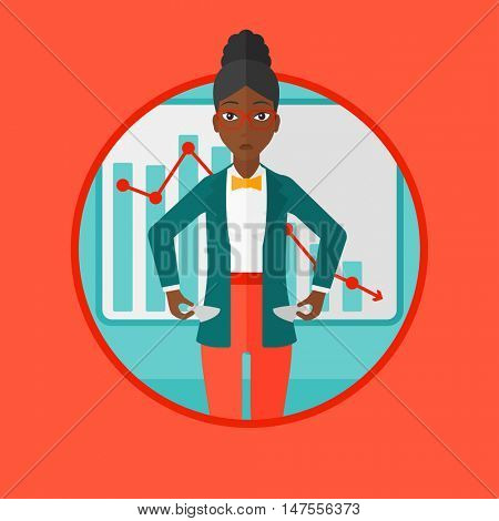 An african-american business woman showing her epmty pockets on the background of decreasing chart. Concept of business bankruptcy. Vector flat design illustration in the circle isolated on background