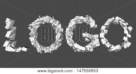 Vector illustration of a collapsing logo. 3D. Animation destruction.