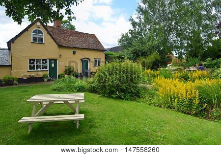 Southill, Bedfordshire, England - July 08, 2016: Southill tearoom and gardens in the Bedfordshire countryside.