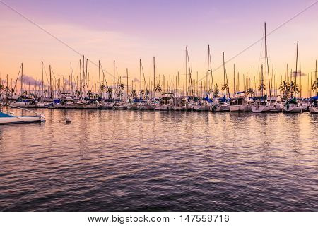 Beautiful skyline of fishing boats docked at the Ala Wai Harbor at twilight. Ala Wai Yacht Harbor is the largest yacht harbor of Hawaii situated between Waikiki and downtown Honolulu.