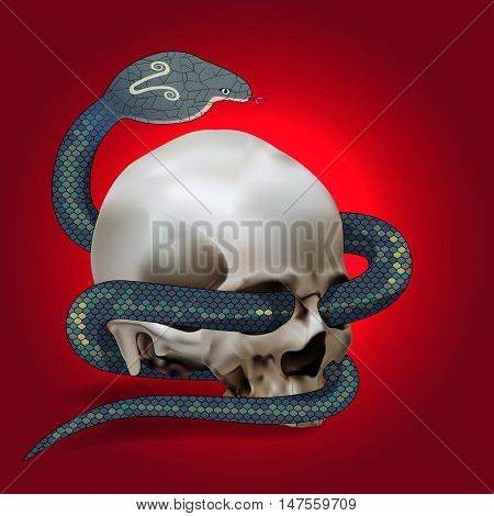 Human skull entwined by snake on red background. Vector illustration