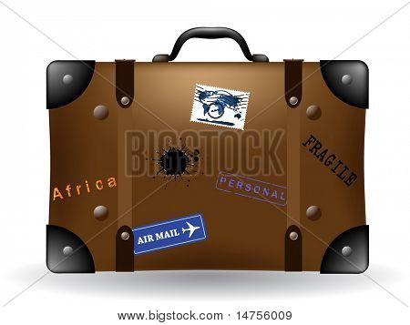 old brown travel suitcase illustration