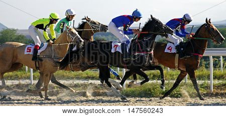 Horse race for the traditional prize Osenni in Pyatigorsk,the largest in Russia.