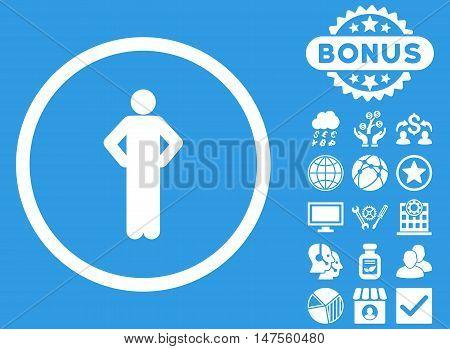 Akimbo icon with bonus symbols. Vector illustration style is flat iconic symbols, white color, blue background.