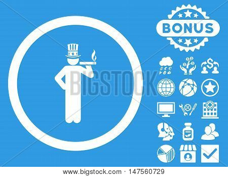 American Capitalist icon with bonus elements. Vector illustration style is flat iconic symbols, white color, blue background.