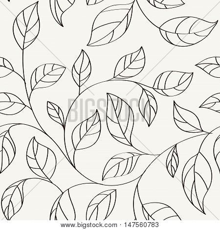 Pattern seamless leaves.Background with twigs of tree