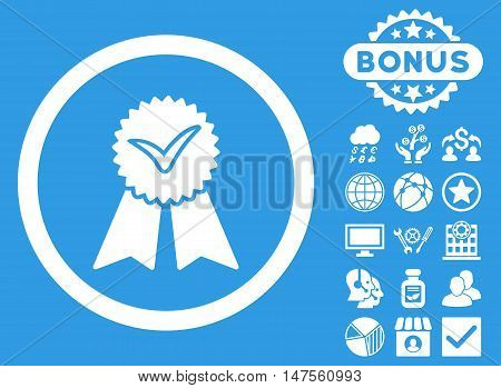 Approvement Seal icon with bonus elements. Vector illustration style is flat iconic symbols, white color, blue background.