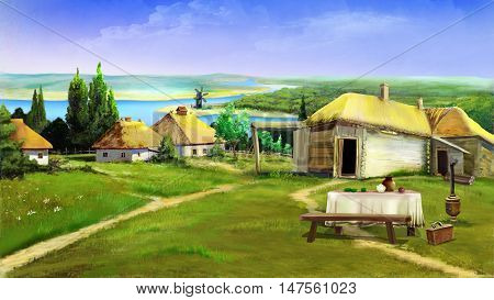 Traditional farm buildings in the old village in the depths of eastern Europe . Digital Painting Background Illustration in cartoon style character.