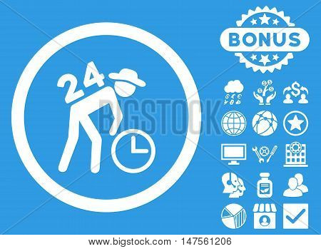 Around the Clock Work icon with bonus elements. Vector illustration style is flat iconic symbols, white color, blue background.