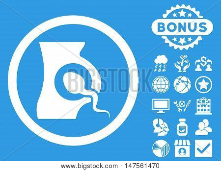 Artificial Insemination icon with bonus elements. Vector illustration style is flat iconic symbols, white color, blue background.