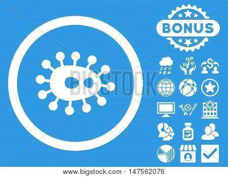 Bacilla icon with bonus pictogram. Vector illustration style is flat iconic symbols, white color, blue background. poster