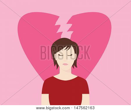 women broken heart with crying expression and heart broke as background with pink color vector