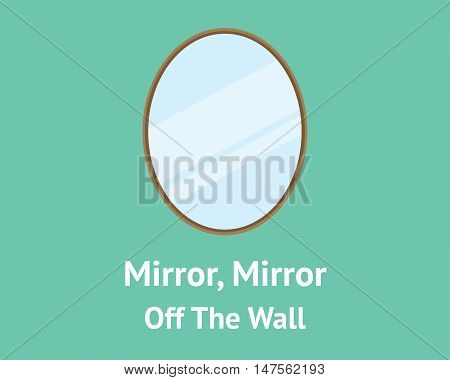 mirror mirror off the wall quotes concept with mirror isolated with green background vector