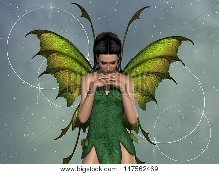 fairy in the forest with green dress