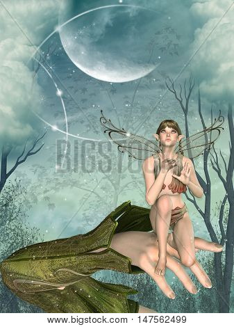 Little Fairy in a hand with forest and big moon