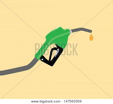 fuel pump with drop gasoline with yellow background vector