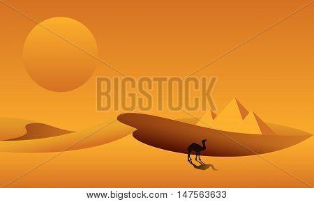 Dunes pyramids camel on the background of desert landscape. Sahara desert in Egypt. Vector illustration.