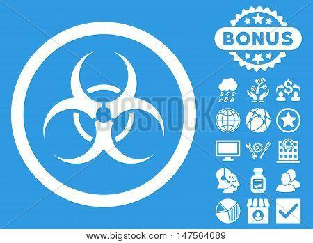 Bio Hazard icon with bonus design elements. Vector illustration style is flat iconic symbols, white color, blue background.
