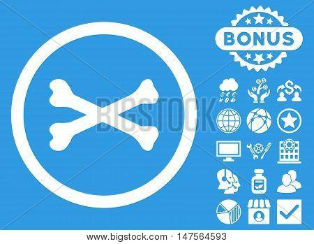 Bones Cross icon with bonus design elements. Vector illustration style is flat iconic symbols, white color, blue background.
