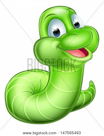 Cute Cartoon Caterpillar Worm