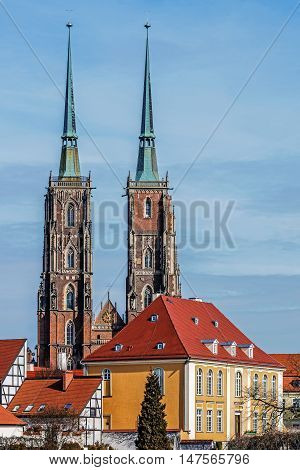 Distant view on The Cathedral of St. John the Baptist, the seat of the Roman Catholic Archdiocese of Wroclaw, Poland.