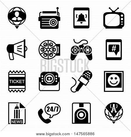 Vector Media icon set on white background