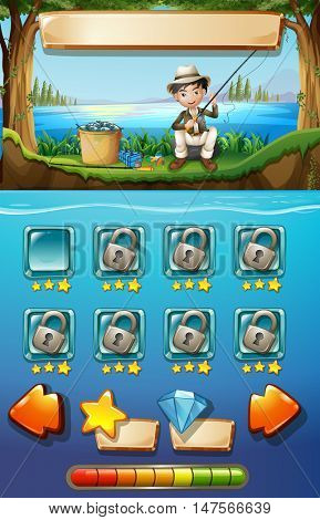 Game template with man fishing in background illustration