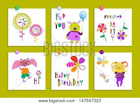 Set of creative cards with funny monsters and flowers. Birthday, party invitations, scrapbooking. Hand Drawn design elements isolated on white. Pink, indigo, orange, chartreuse. Vector illustration.