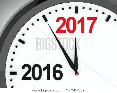 Black clock with 2016-2017 change represents coming new year 2017 three-dimensional rendering 3D illustration