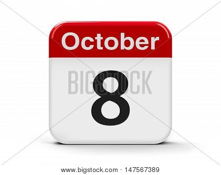 Calendar web button - The Eighth of October - Independence Day in Croatia three-dimensional rendering 3D illustration