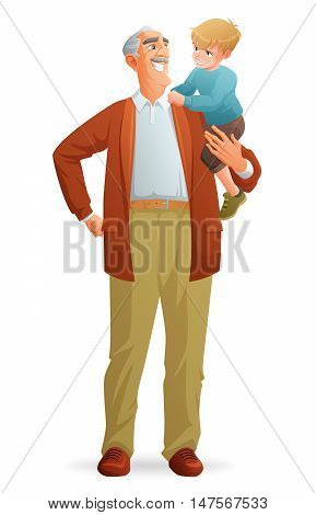 Happy smiling grandfather holding his grandson. Cartoon vector illustration isolated on white background.